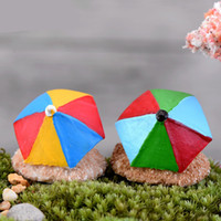 Wholesale decorative artificial stone resale online - Moss Micro Landscape Beach Umbrella DIY Mini Assemble Ornament Toys Cute Miniatures Artificial Garden Decorations cj Ww