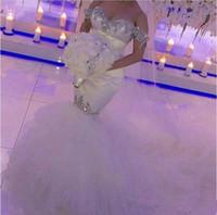 venda de cristal de noiva venda por atacado-Off-a-ombro sereia vestidos de casamento 2019 venda quente New Custom Sweep trem Bling Bling luxo contas cristais vestidos de noiva de tule W032