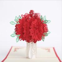 cartões de convites vermelhos venda por atacado-Atacado 10 pcs Handmade 3D Pop Up Red Rose Cartão de Corte A Laser para o Papel Dos Namorados Rose Flor de Saudação Cartão de Convite De Casamento 3D