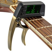 Wholesale tuner for acoustic guitar - 2018 New MagiDeal TCapo20 Capo Tuner for Guitar Bass Violin Professional Acoustic Electric 3 colors- black gold bronze
