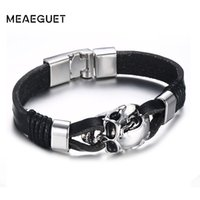 Wholesale mens bangle head for sale - Group buy Hip Hop Leather Mens Bracelet With Ancient Silver Ghost Head Zinc Alloy Balck Color Male Bangle Punk Skull Steel Jewelry