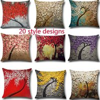 Wholesale flower cushions for sale - Painting Flower Trees Pillow Case D Tree Of Life Cushion Cover Linen Cotton Throw Sofa Bed Pillow Covers Xmas Home Decorative HH7