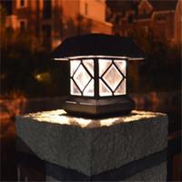 luces de vinilo al por mayor-Solar Light Post Cap Luces Decoraciones Brillante 15 lumen exterior blanco cálido LED lámpara para vinilo impermeable linterna negra para valla