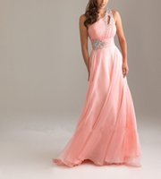 Wholesale coral chiffon fabric resale online - Real Photos Chiffon Fabric Handmade Pleat And Beading Party One Shoulder Evening Dress OL102072