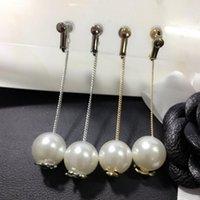Wholesale Pearl Clip Dangle Earrings - Elegant Women Brand Letters Designer Earrings Pearl Drop Dangle Eardrop Ear Stud Clips Wedding Jewelry Accessories