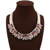 Discount stainless steel singapore - Fantastic 9 Colors Rhinestone Floral Bohemian Alloy Necklaces Designer Jewelry Luxury Women Choker Jewelry Collar Mens Necklace