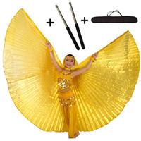 goldflügel kostüm großhandel-Bauchtanz Flügel Adjutable Edelstahl Sticks Bauchtanz Kostüme Ägypten Isis Flügel für Kinder Mädchen Kinder Gold Schwarz 10 Farben
