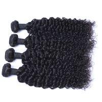 jerry curl weave verlängerungen menschliches haar großhandel-Malaysian Jerry Curl 4 Bundles / lot Menschliches Jungfrau-unverarbeitetes Haar spinnt natürliche schwarze Farbe 100g / Bundle-Doppeleinschlag-Haar-Erweiterungen
