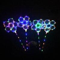 luces de palo al aire libre al por mayor-LED Plum Blossom Globo 18 pulgadas intermitente Bobo Ball Light Up Globos con Mango Stick Party Decoración Al Aire Libre Juegos 120 unids OOA5440