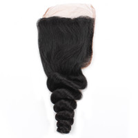 Wholesale closure resale online - 8A Virgin Human Hair Closure Loose Wave Swiss Lace Closure Middle Free Three Part Brazilian Peruvian Malaysian Indian Hair Black Color