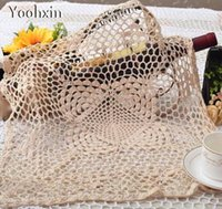 Wholesale Lace Cup Holders - Modern Crochet table place mat Cloth lace cotton placemat drink coaster Christmas doily pad cup holder handmade dining kitchen