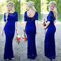 Wholesale short sleeve open back wedding dress for sale - 2018 Royal Blue Full Lace Country Bridesmaids Dresses Short Sleeve Open Back Floor Length Maid Of Honor Wedding Guest Gowns Customized