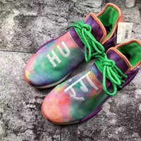 Wholesale top labs - 2018 Top Human RACE Pharrell X NMD Hu Trail Holi Running Sneakers For Men Womne Chalk Coral Flash Green Lab Purple Sports Shoes