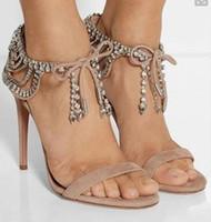 Wholesale diamond gladiator sandals for sale - 2018 Women diamonds Sandals Lace Up Gladiator Sandals rhinestone Women Shoes open toe High Heels Women wedding shoes
