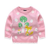 stricken fuchs pullover großhandel-Herbst Winter Baby Mädchen Pullover 100% reiner Baumwolle Pullover Mädchen Winter Kleidung langärmelige Cartoon Fox gestrickte Pullover 2-8 t