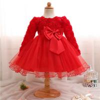ingrosso vestito dalla neonata 24m-0-24M Baby Girl Flower Embroidery Dress Per Little Princess Abiti da compleanno Toddler Girl Battesimo Abbigliamento Battesimo Ball Gown