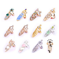 типы палец кольцо оптовых-Women Fashion Bowknot Crown Crystal Finger Nail Art Ring Jewelry Fake Nail Art For 12 Types Available Decorations
