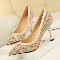 Wholesale Pump Weaves - Woman Shoes Woven Fabric Pointed Toe Pumps High Heels Sandals Shallow Slip on Slides Mixed Color Shoes Black khaki