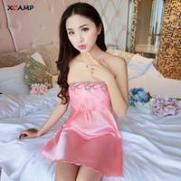plus größe rosa satin dessous großhandel-XCAMP Frauen Sexy Nachtwäsche Süße Sommer Kleidung Für Frauen Mode Atmungs Nachtwäsche Homewear