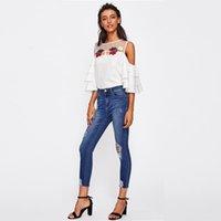 jeans de botão para mulheres venda por atacado-Lavado Rasgado Azul Bleach Wash Afligido Rock Denim Jeans Mulheres Casual Cintura Alta Botão Fly Calças Rasgadas Skinny Jeans