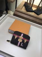weinlese rosafarbene blumenmünzengeldbeutel großhandel-Top-Qualität gedruckt Kartenhalter Hot Fashion Marke Designer Frauen Mode Brieftaschen kleine Geldbörsen Münze Geldbörsen mit Box M62617