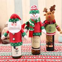weinflaschen-säcke großhandel-Puppe Frohe Weihnachten Weinflasche Abdeckung Cartoon Schöne Elch Weihnachtsmann Sack Schneemann Form Bier Halten Tasche Stricken Exquisite Decor Home 6 jl ff