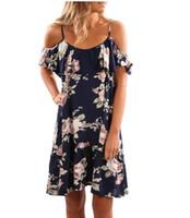 xl vestidos de sol al por mayor-Vestidos de verano para mujer 2018 Summer print Mini vestidos de fiesta Sexy Club Casual Vintage Beach Sun Dress