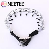 Wholesale metal chain leash resale online - MEETEE Dog Chain Collar Pet Metal Leash Dog Walking Leash Training Chain Collar Prong Choke Collars Pet Supply DC