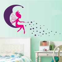 ingrosso adesivi murali della principessa-Moon Fairy Wall Stickers per bambini Camere Daycare Decorazioni da parete Nursery Decor Children Princess Mural Decal