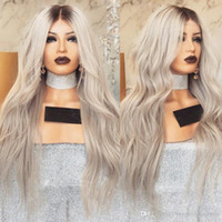 Wholesale wig gray long - New Sexy 180% Density Long Body Wave Wigs Ombre Gray Lace Front Wigs With Baby Hair Glueless Heat Resistant Synthetic Wigs For Women