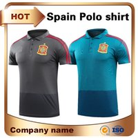 Wholesale quick stands - 2018 World Cup Spain POLO athletic shirts 17 18 Top quality Short sleeved sports Soccer Jerse Black and blue Stand collar Polo uniform
