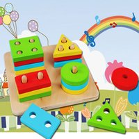 Wholesale Educational Wooden Geometric Sorting Board Blocks Montessori Kids Baby Educational Toys Building Blocks High Quality
