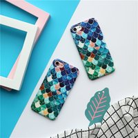 Wholesale Apple Fish - Lovely Blue Mermaid Fish Scale Hard PC Protective Back Cover Case For iphone 6 6s 7 Plus