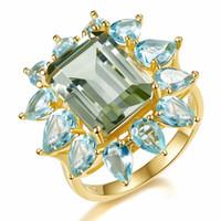anillo topacio amarillo oro plata al por mayor-Luxury 9.35ct Creado Piedra preciosa Verde Amatista Azul Topacio Anillo Sólido Plata de ley 925 Chapado en oro amarillo Anillo de boda Tamaño 6-10 #