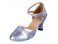 Wholesale Golden Dance Shoes - Womens Sparkly Glittering Latin Ballroom Dance Shoes with Leather Straps Closed-toe Tango Dancing Heels Ankle Strap