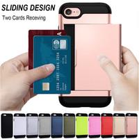 ingrosso iphone migliore copertura di caso di vendita-La migliore vendita Card Slot Holder Wallet Custodia Antiurto Cover per iPhone X 5 5S SE 6 6S 7 8 Plus