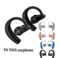 indicaciones de voz samsung al por mayor-T9 TWS bluetooth 4.1 estéreo inalámbrico en el oído, gancho para la oreja, auriculares, auriculares, auricular de voz, con micrófono para iphone y samsung