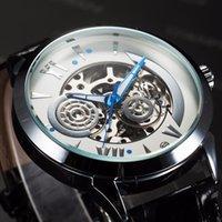 ремень для стимпанк оптовых-FORSINING Galaxy серии мужской кожаный ремешок часы автоматические механические мужские наручные часы ручной часы скелет стимпанк Reloj