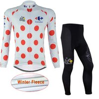 Wholesale cycling thermal trouser resale online - TOUR DE FRANCE Cycling Winter Thermal Fleece jersey bib pants sets Warm long sleeved trousers bike clothing outdoor sports equipment c1918