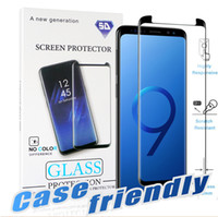 Wholesale body 3d - For Samsung Galaxy S9 S8 Plus Note 8 S7 S6 Edge Case Friendly 3D Curve Edge HD Clear Tempered Glass Screen Protector With Package