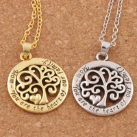 Wholesale Silver Family Necklace - Hot Mom You Are The Heart Of Our Family family Tree Of Life Chain Necklace Fashion Pendant Necklaces N1663 24inches