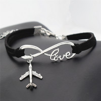 Wholesale airplane bracelets for sale - Group buy 2018 New Silver Infinity love Plane Charms Airplane Pendant Leather bracelet Popular Jewelry bangles for women men drop shipping