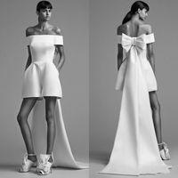 Wholesale designer jumpsuit - Designer Newest Jumpsuits Prom Dresses Ball High Low Satin Bateau Bow 2018 Cheap Formal Wear Party Evening Dresses Gowns Robe De Soiree