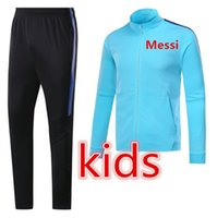 Wholesale Teens Suits - MESSI SUAREZ kids jacket KIT 2017 2018 teens soccer PIQUE 17 18 TOP QUALITYtraining suit tracksuit FOOTBALL Sweatshirt CHANDAL free shipping