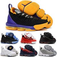 promo code 1f9a8 f8057 2018 Nouveau Kid Femmes Hommes LeBron 16 XVI Noir Blanc x Mousse Violet  Jaune Chaussures De Basket-ball Haute Qualité Entraîneurs Jeunes 16 ans  Taille 36-46