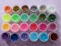 vasos de gel uv venda por atacado-24 Potes Fluorescente Glitter Cor Construtor Glitter UV Gel Brilhante Gel Unha Moda Gel Unha Polonês Frete Grátis