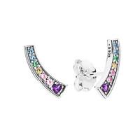 ingrosso le scatole dell'orecchino liberano il trasporto-S925 Sterling Silver Luxury Fashion Women Colore Crystal Rainbow Stud ORECCHINO Originale confezione regalo per orecchini Pandora Spedizione gratuita
