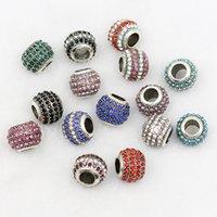 bolas de diamantes de imitación de 12 mm al por mayor-10 * 12mm Rhinestone Granos de la Bola de Cristal Retro Color Plata Granos del espaciador del agujero grande para Diybracelet Fabricación de joyas Hallazgos 1pc precio
