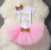 Wholesale Toddler Birthday Outfits Girls - Ins Baby Girls Birthday Outfits 3piece set Letter One Rompers + TUTU Skirts + headband Infant Toddler Girl Bubble Skirt Princess Summer