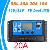 controlador solar pwm al por mayor-30A / 20A / 10A 12V 24V Trabajo automático Controlador de carga solar PWM con LCD Dual USB 5V Salida Panel de células solares Regulador del cargador PV Inicio